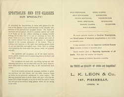 Advert For L. K. Leon & Co, Opticians reverse